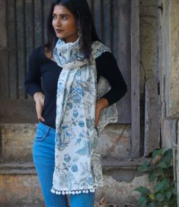 Blue Floral printed stoles